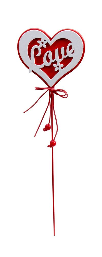 Red & White Love Heart Wooden Pick x 20cm - Pack of 10