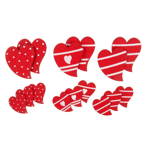 Craft Embellishment - Red & White Hearts - Pack of 18