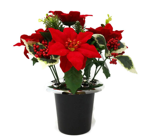 Red Poinsettia with Holly & Berry Cemetery Pot