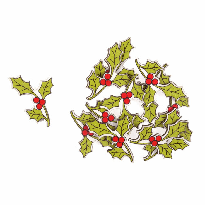 Craft Embellishment - Wooden Holly Sprig - Pack of 12