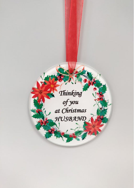 Christmas Wreath Glass Tree Hanger - Husband