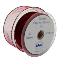 30mm x 20m Burgundy Wired Organza Ribbon