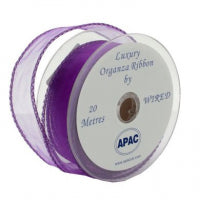 30mm x 20m Purple Wired Organza Ribbon