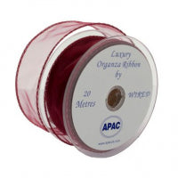 50mm x 20m Chiffon Organza Wired Edge Ribbon Burgundy