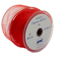 50mm x 20m Chiffon Organza Wired Edge Ribbon - Red