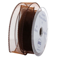 30mm x 20m Chocolate Brown Wired Organza Ribbon