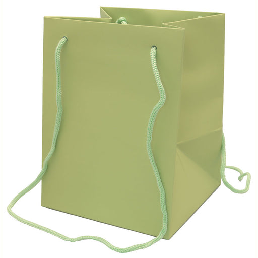 Hand Tied Rope Handle Bags x 10 - Sage Green