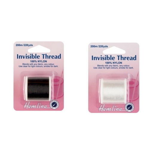 Hemline 100 % Nylon Invisible Thread x 200m - Clear or Smoke
