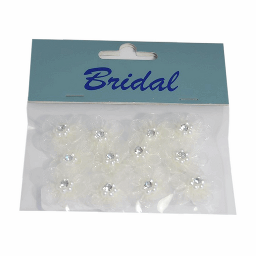 Diamante & Pearl Organza Flower Embellishment - Self Adhesive -  Pack of 12 -  Ivory