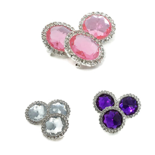 3 x Gemstone & Diamante  Brooches x 22mm - Pink, Purple or Clear