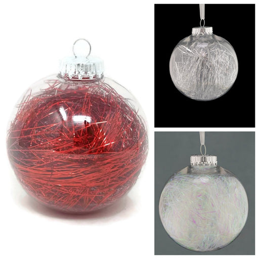 Clear Lametta Bauble x 10cm - Red, Silver or Iridescent