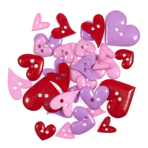 Pack of 20g Pink and Red Novelty Heart Craft Buttons