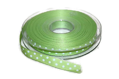 10mm Lime polka dots Ribbon