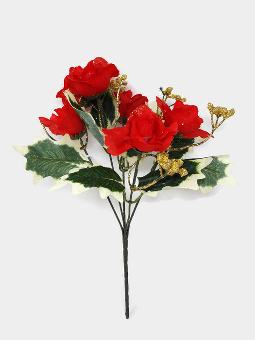 Glittered Mini Rose Bush & Gypsophila x 34cm - Red