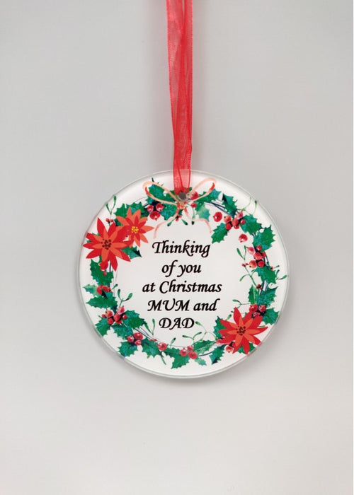 Christmas Wreath Glass Tree Hanger - Mum and Dad