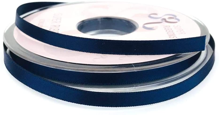 6mm x 20m Double Faced Navy Satin Ribbon