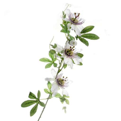 Passion Flower Spray - White/Purple (75cm long)