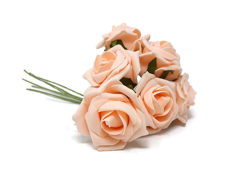 6 Head Foam Rose Bunch -  Peach