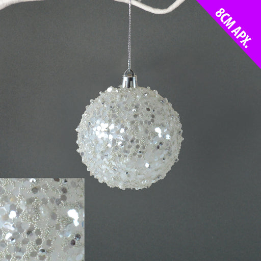 8cm Pearl & Bead Bauble - White