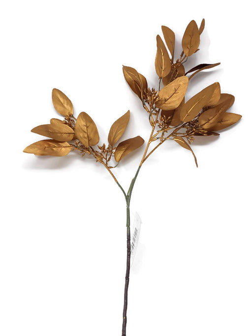 Pearlised Eucalyptus Leaf & Seed Spray x 62cm - Bronze Gold