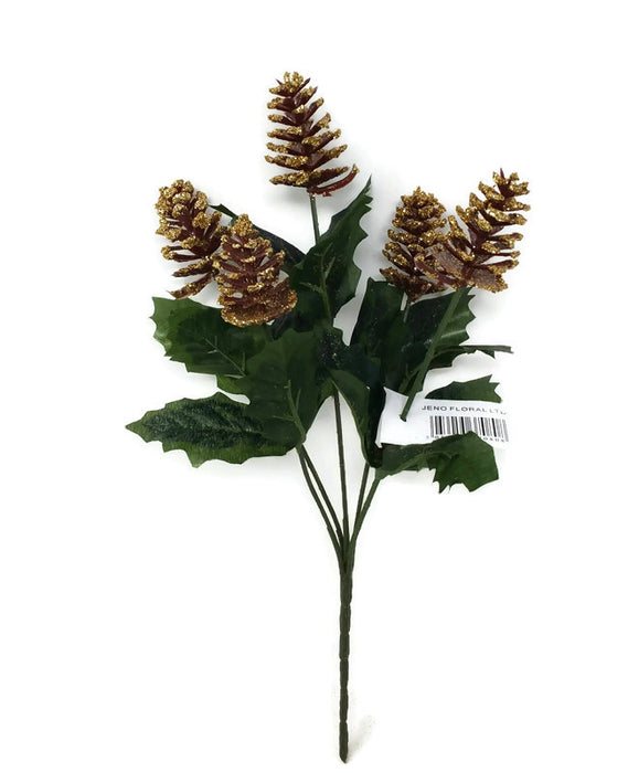 Holly & Pine Cone Bush x 31cm- Gold Glitter