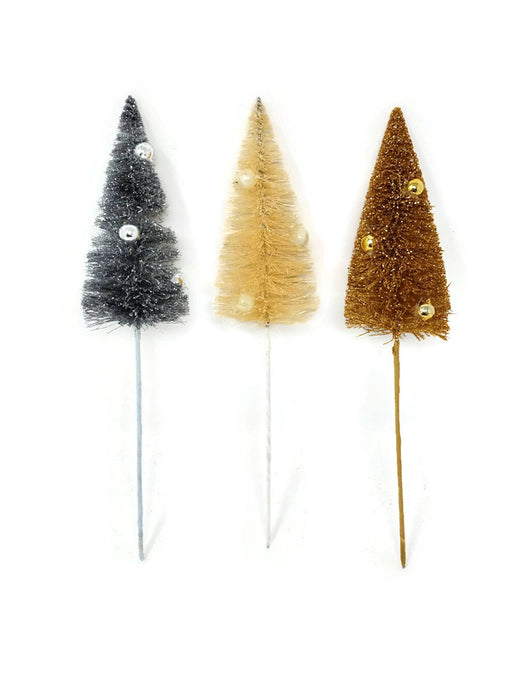 12 Pine Assorted Colour Christmas Tree Wire Picks x 22cm - Gold Silver & White