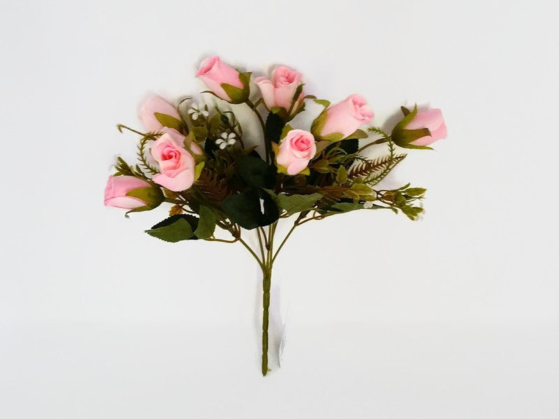 Mini Rose Bud Bush & Mixed Foliage - Pink