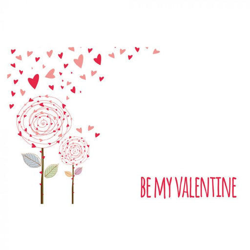 Valentine Florist Message Cards - Be My Valentine - Pink Flowers & Heart Petals  x 50