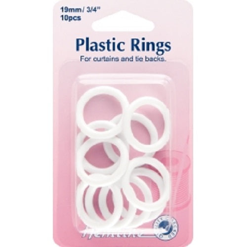 Plastic Curtain Rings - White - 15mm or 19mm