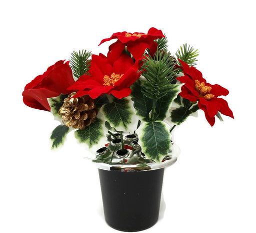 Rose & Poinsettia with Holly Cemetery Pot - Red
