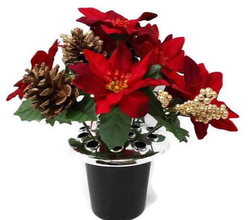 Poinsettia, Berry & Pine Cone Cemetery Pot - Red & Gold