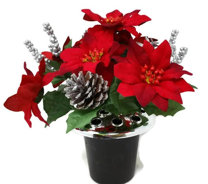 Poinsettia, Berry & Pine Cone Cemetery Pot - Red & Silver