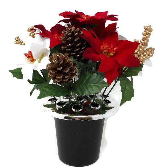 Poinsettia, Berry & Pine Cone Cemetery Pot - Red & White with Gold