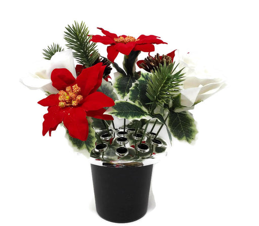 Rose & Poinsettia with Holly Cemetery Pot - White