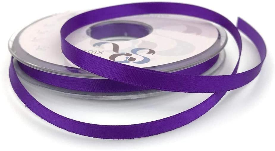 6mm x 20m Double Faced Purple Satin Ribbon