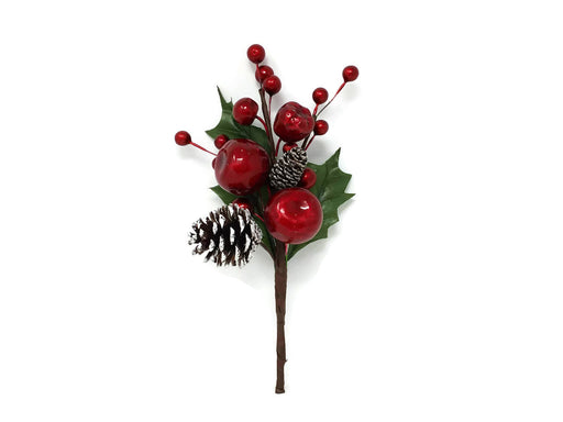 Red Apple & Berry Pine Cone Pick x 21cm