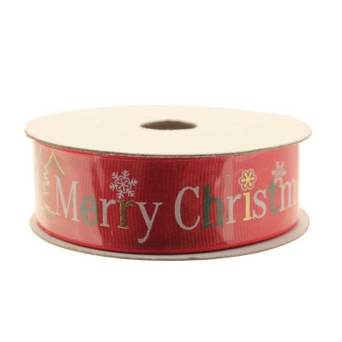 Red Merry Christmas Ribbon - 25mm x 10 yards