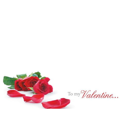 Valentine Florist Message Cards - To My Valentine - Red Roses x 50