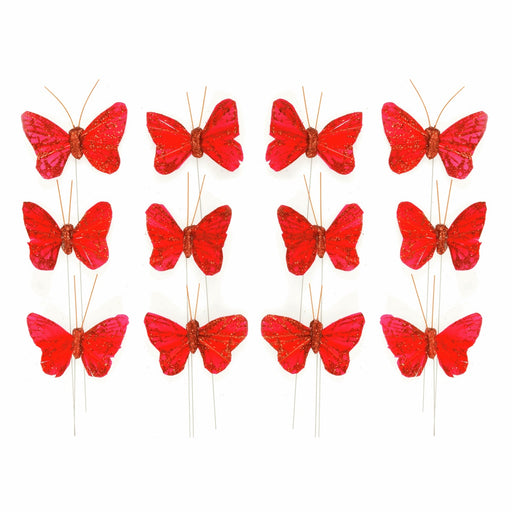 12 Red Glitter Wired Butterflies x 5cm - Red