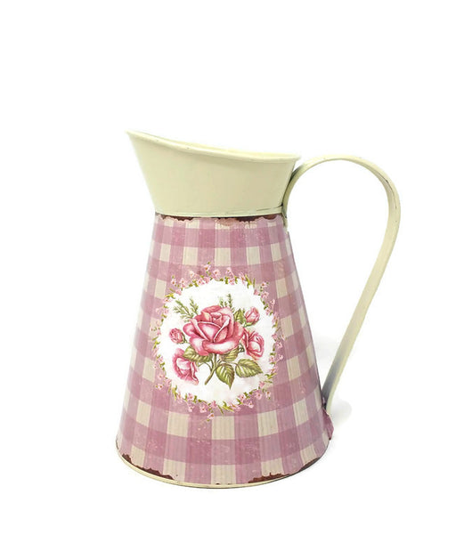 Cream Metal Jug with Rose Decal x 16cm