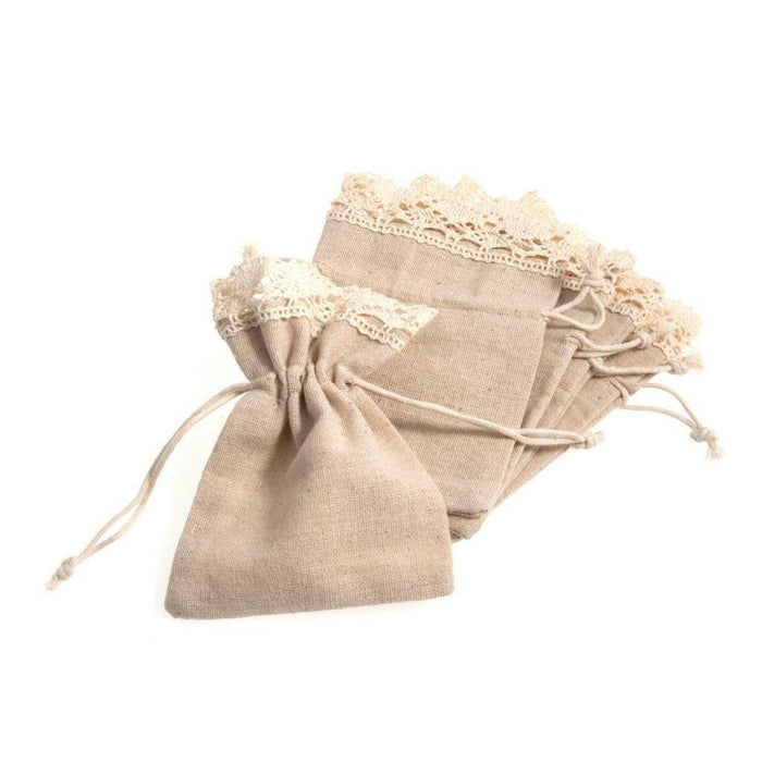 5 Natural Cotton Lace Trim Bags - Size 10x14 cm