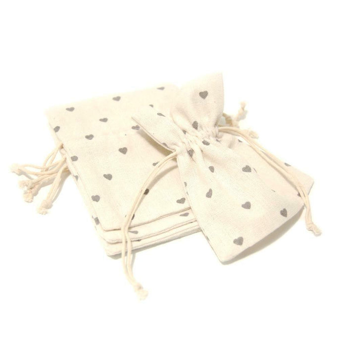 5 Ivory With Grey Hearts Cotton Bags - Size 10x14 cm