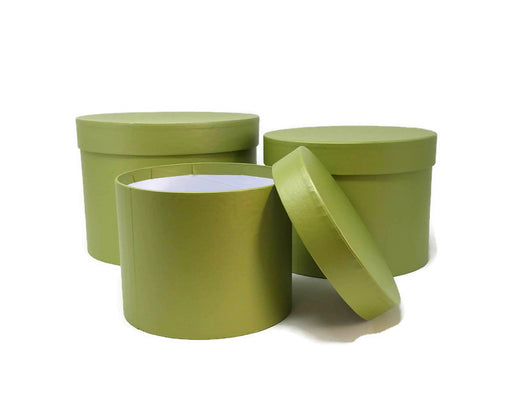 Symphony Lined Hat Boxes - Set of 3 - Sage Green