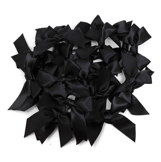 Satin Scatter Bows - 15mm Wide Ribbon x 100pcs - Black