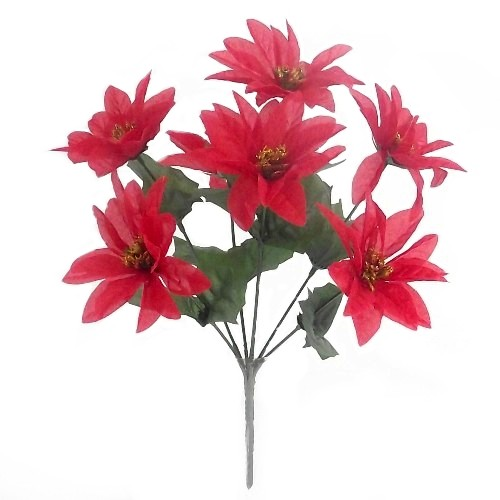 7 Head Red & Glitter Centre  Poinsettia