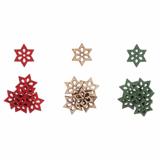 Wooden Star Embellishment x 2cm - Pack of 18