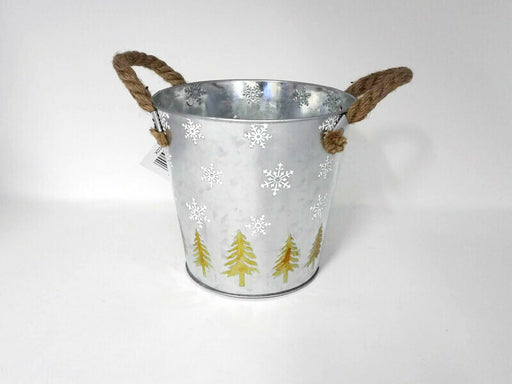 Silver Metal Planter Pot with Etched Tree & Snowflake x 18cm