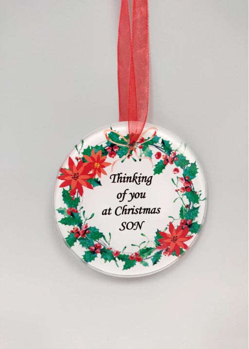 Christmas Wreath Glass Tree Hanger - Son