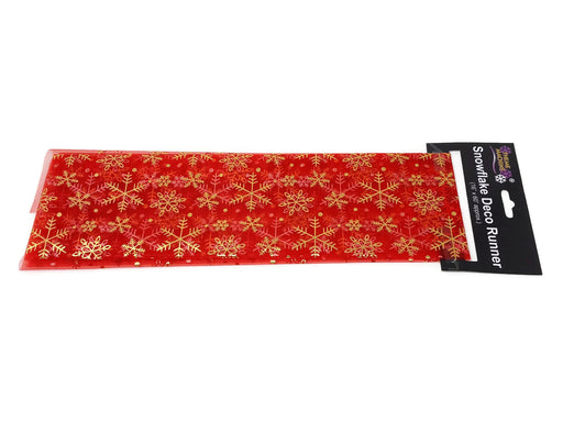 "Red Organza Snowflake Table Runner 16"" x 60"""