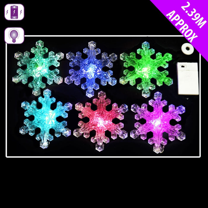 6 Snowflake Multi Coloured Lights x 2.39m - Battery Operated LED